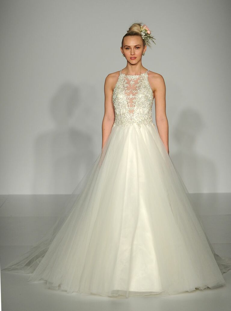 Maggie Sottero Lace And Tulle Wedding Dress With Illusion Neckline From Fall 2016