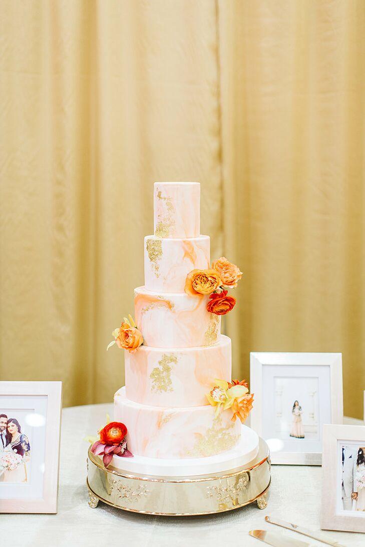 Orange Watercolor Wedding Cake