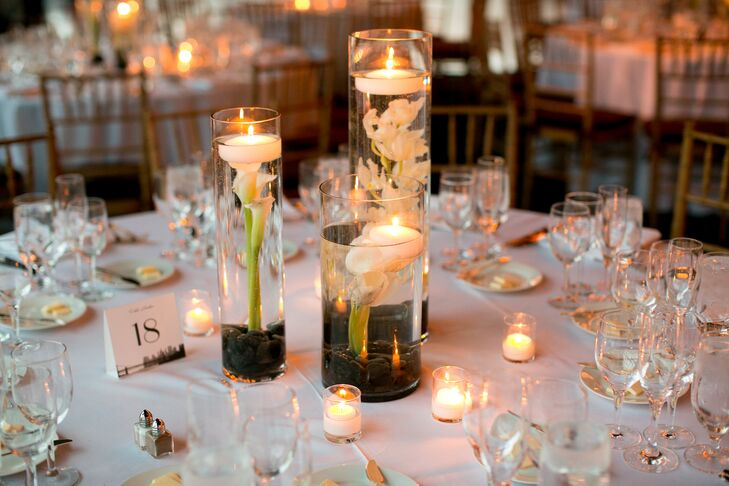 Modern floating candle centerpieces