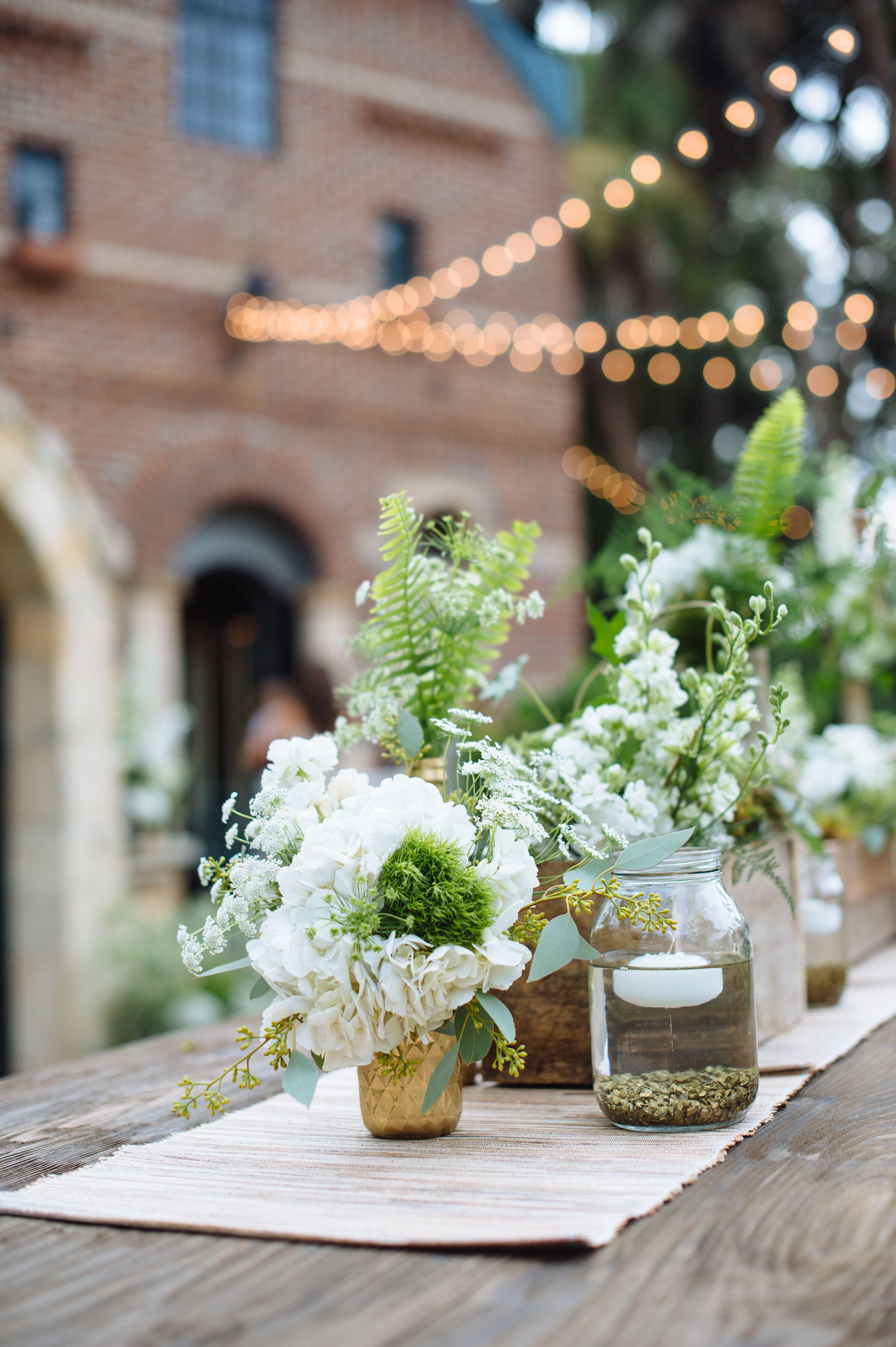 Fern And White Flower Centerpieces