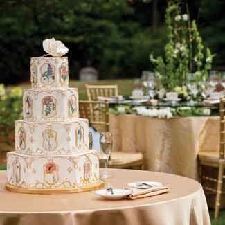 Ornate cake with gold trim