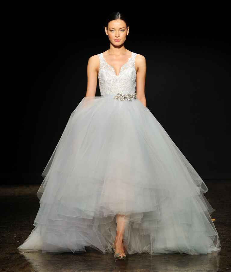 High low Lazaro wedding dress