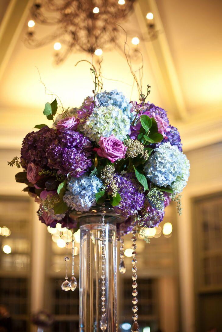 Blue and purple hydrangea centerpiece