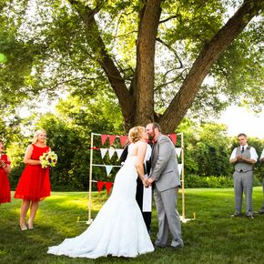 Personalized Vows At Retro Outdoor Ipswich Massachusetts Ceremony