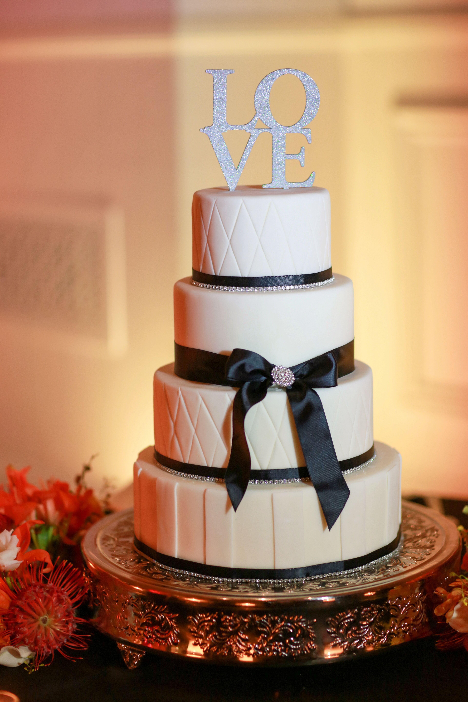 Black And White Buttercream Wedding Cake