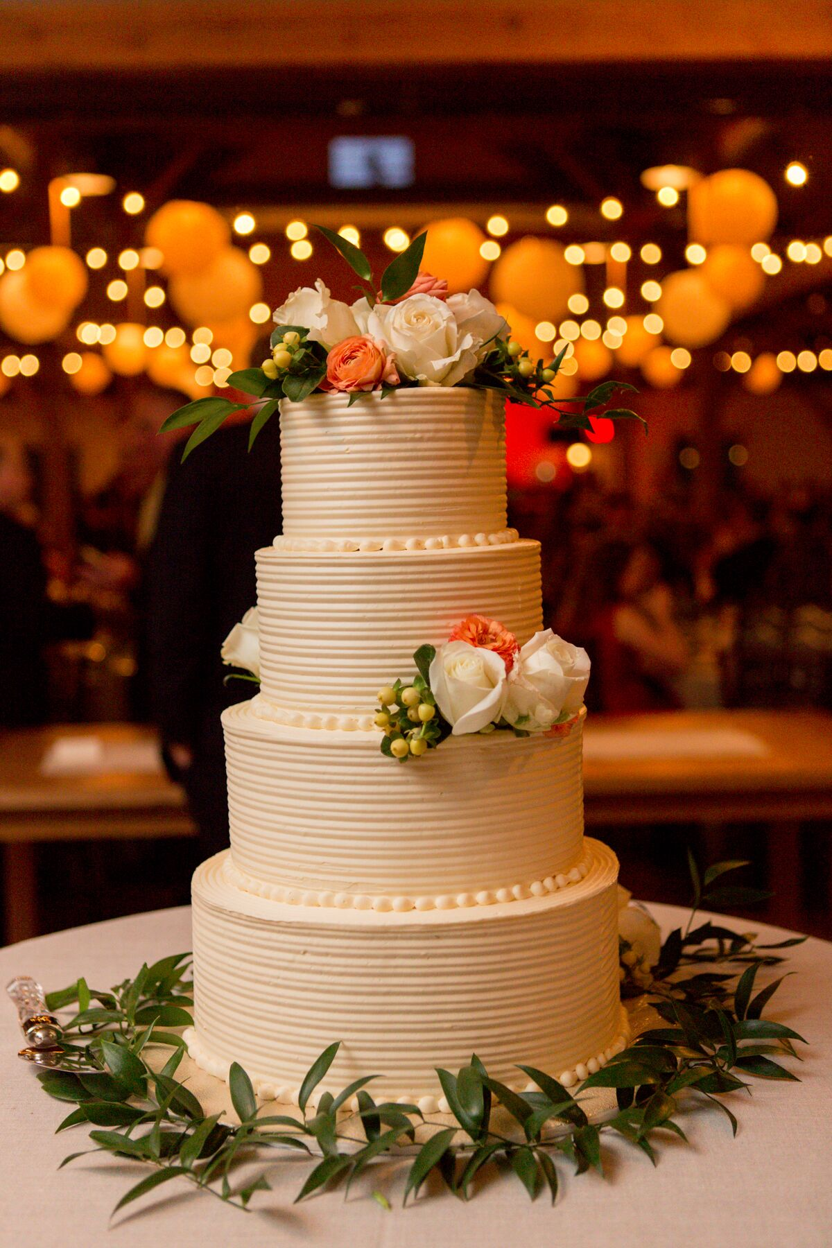 Textured Ivory Buttercream Wedding Cake With Roses