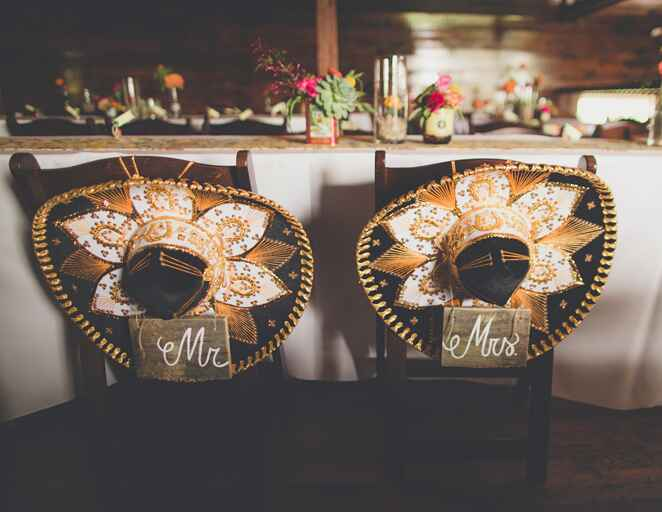 Sweetheart chairs with sombrero decorations