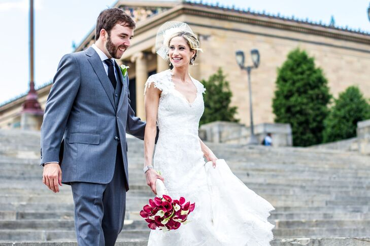 Lace Cap Sleeve Keyhole Back Wedding Dress In Philadelphia
