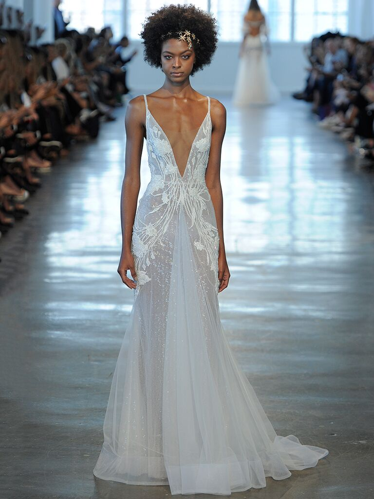 Sexy wedding dresses that rocked the runways watch sheer wedding dress with deep v neckline ombrellifo Image collections