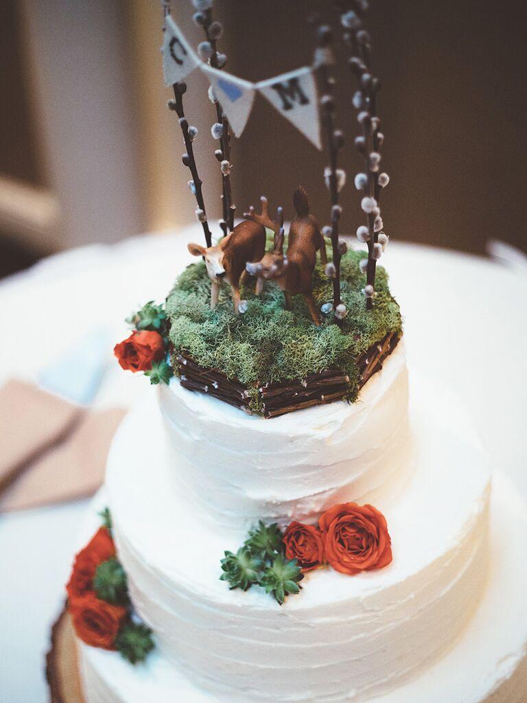 17 ideas for a unique wedding cake topper unique faux forest setting wedding cake topper idea junglespirit Image collections