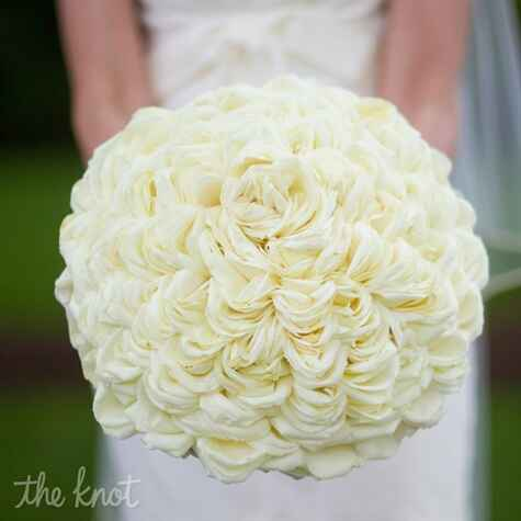 White floral rose bridal bouquet