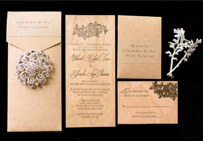 Woodgrain Invitations With A Lacy Detail |<img class=