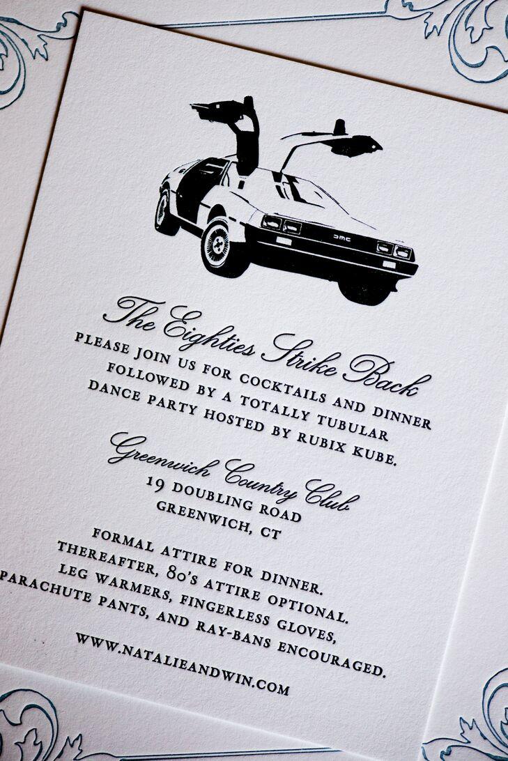 Formal 1980s-Inspired Wedding Invitations