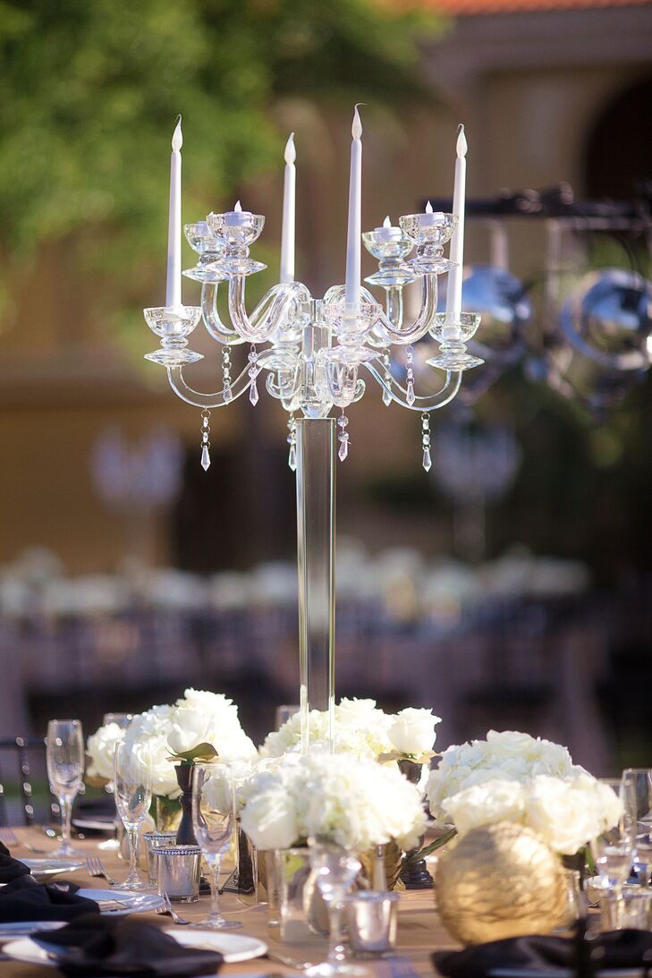 Sarasota florida clear glass candelabra centerpiece
