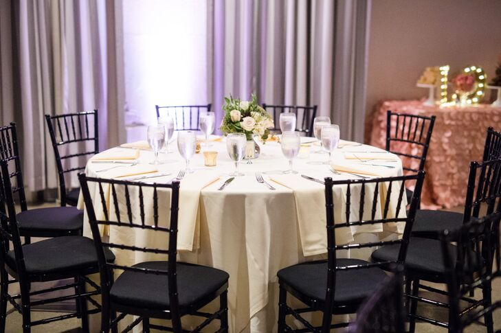 When couples rent the ballroom, part of the rental includes black chiavari chairs, a variety of tables, a built-in sound booth, audiovisual capabilities and lighting packages to customize the space.