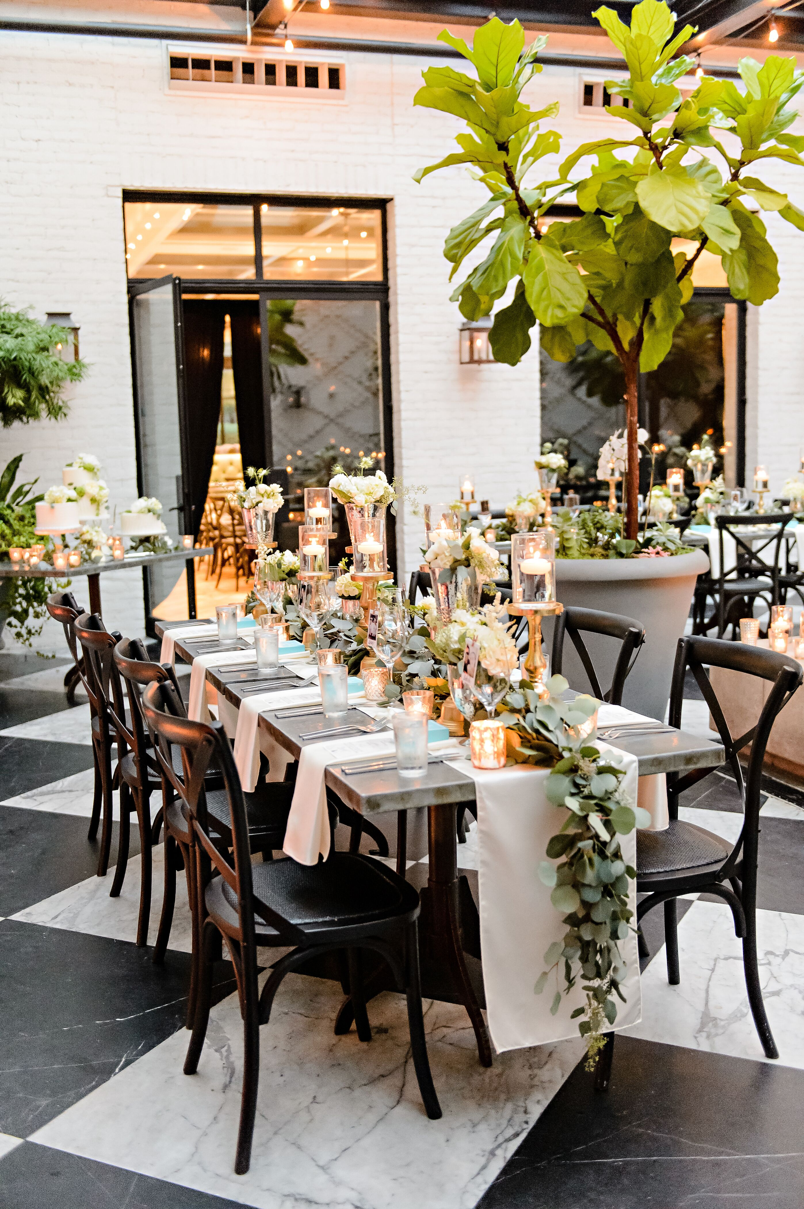 Romantic Eucalyptus Garland And Floating Candle Centerpieces