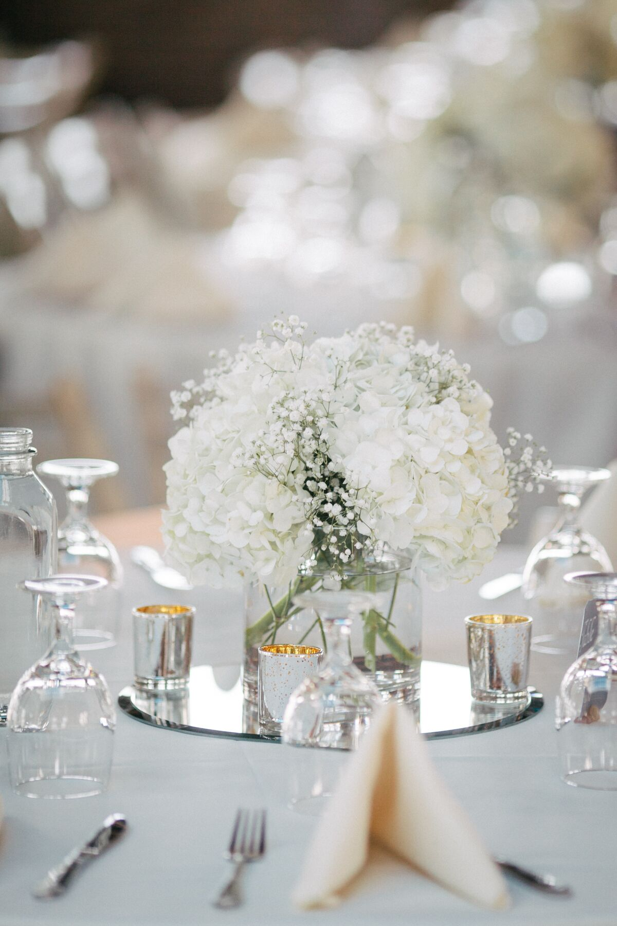 White Hydrangea And Baby S Breath Centerpieces