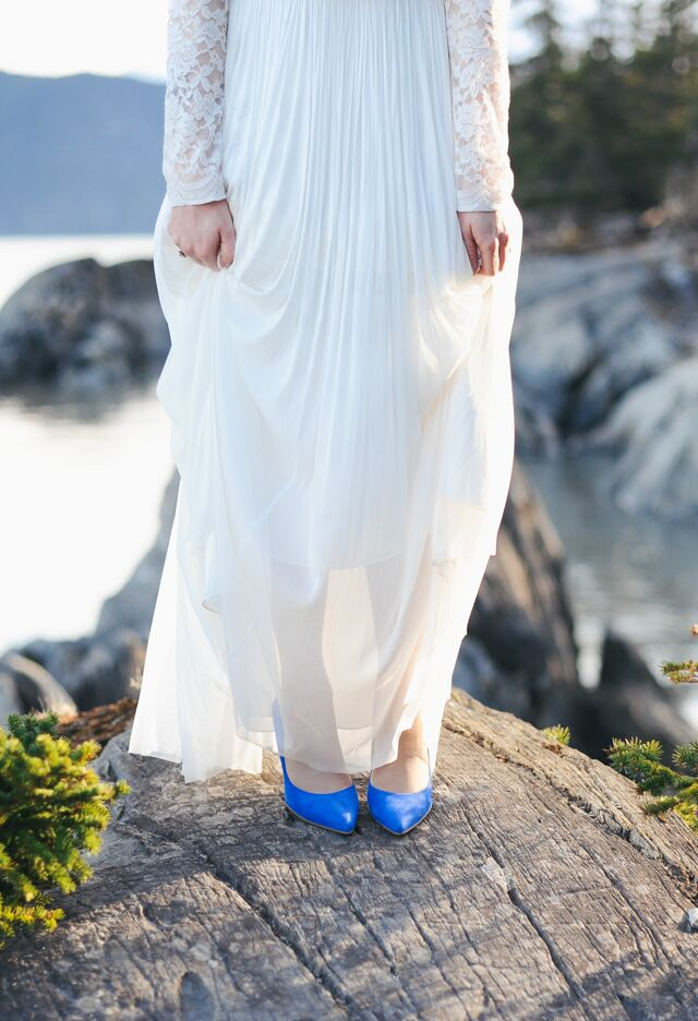 """I did opt for the blue suede heels. I will definitely wear those again, since they are flirty and fun,"" Grace says."