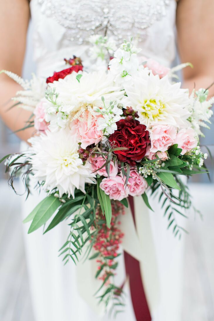 Dahlia and Rose Bouquet with Cascading Greenery