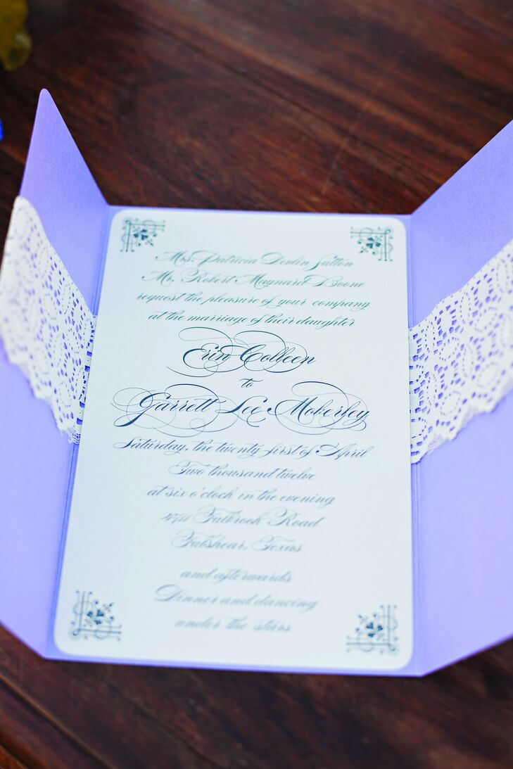 lacey purple tri fold invitations