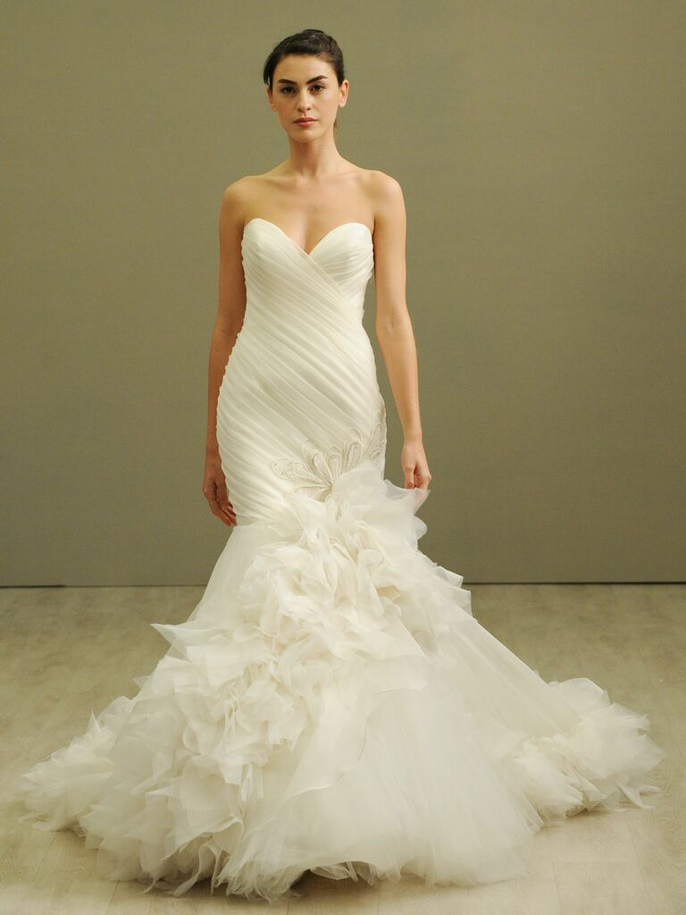 Lazaro mermaid dress with ruched bodice plus size wedding dress