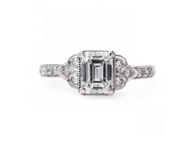 Trumpet and Horn Emerald Cut Engagement Ring