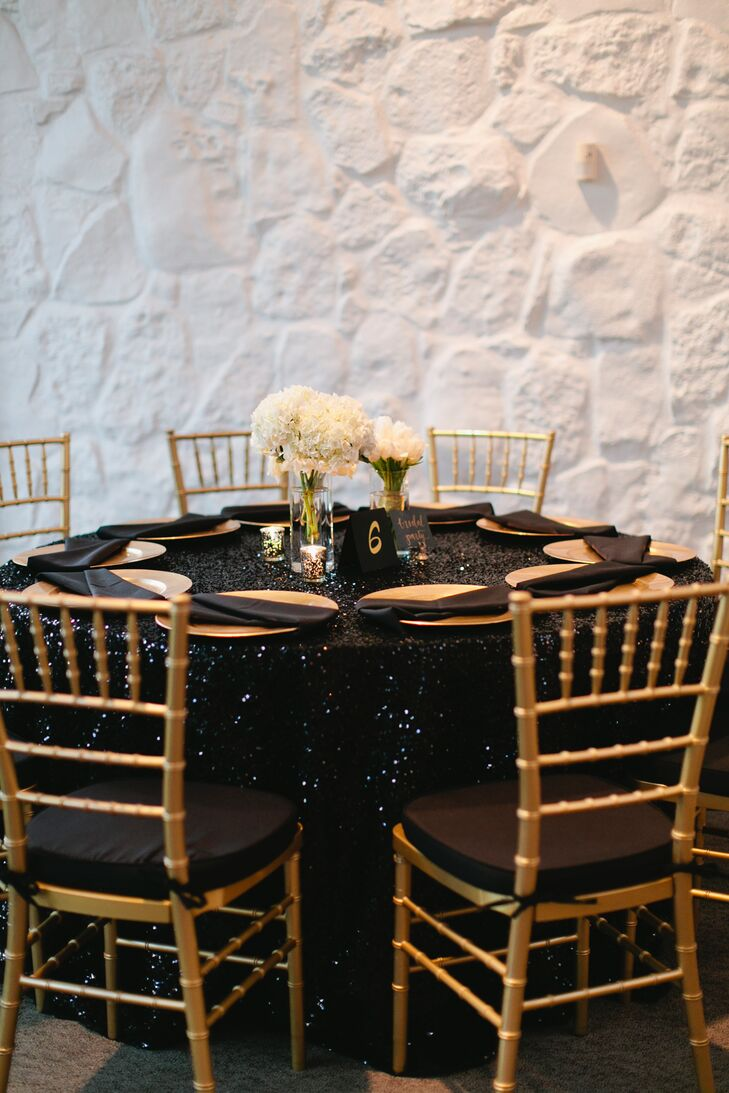Black Sequined Dining Table With Gold Chiavari Chairs
