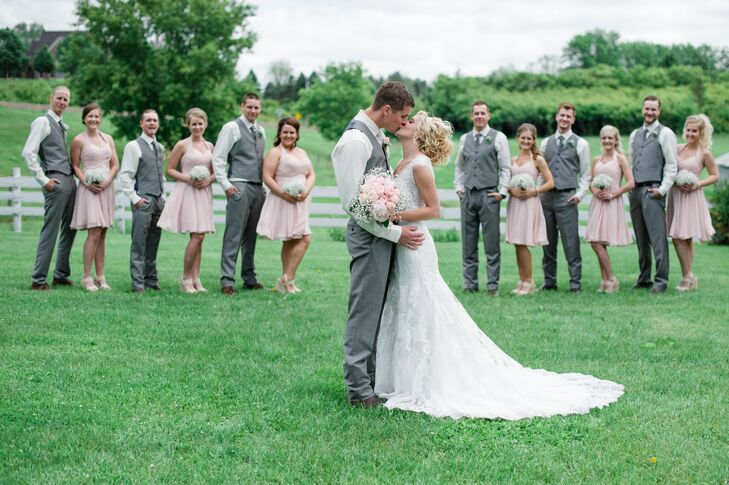 Pink And Light Gray Wedding Party