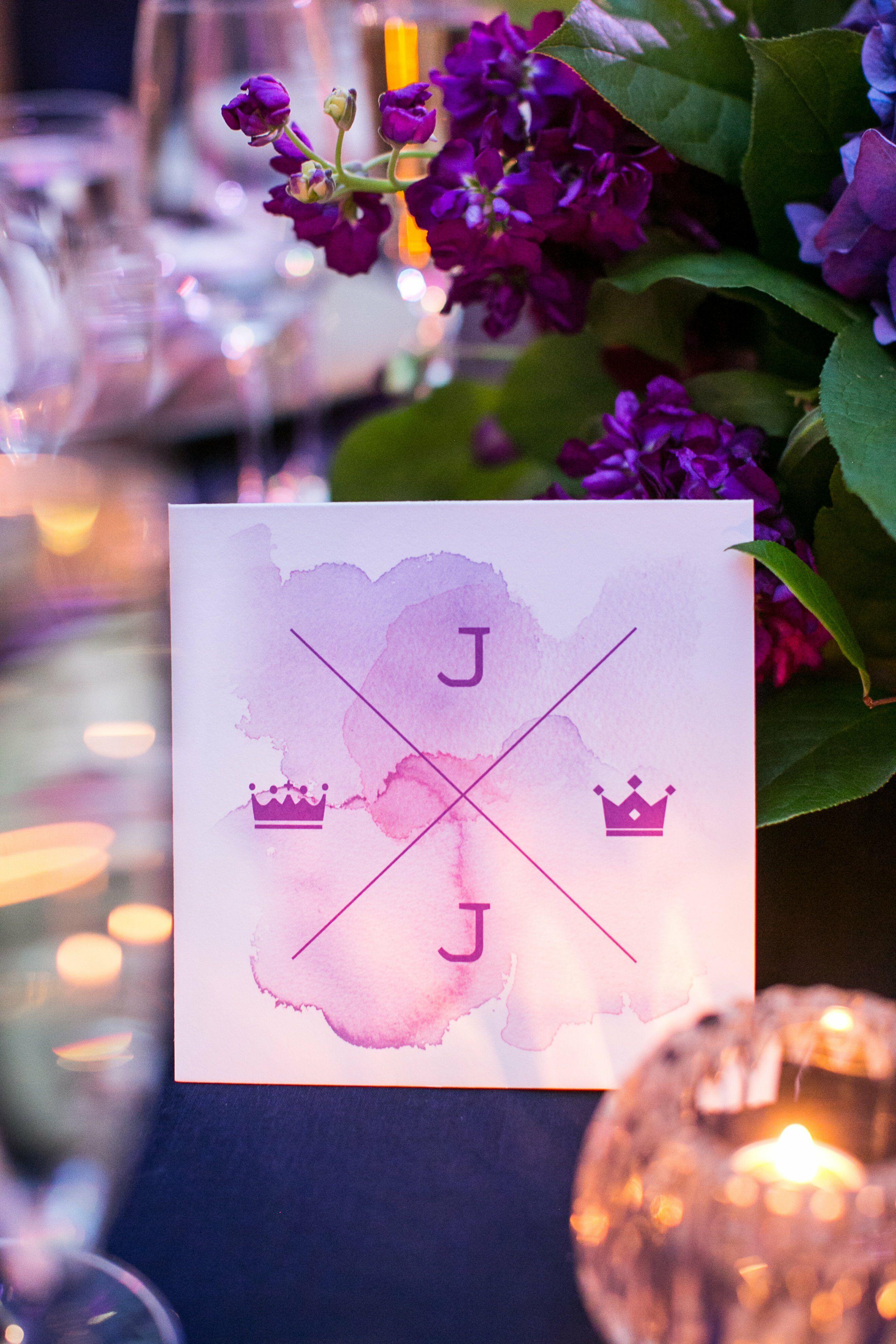 Purple Sweetheart Table Card