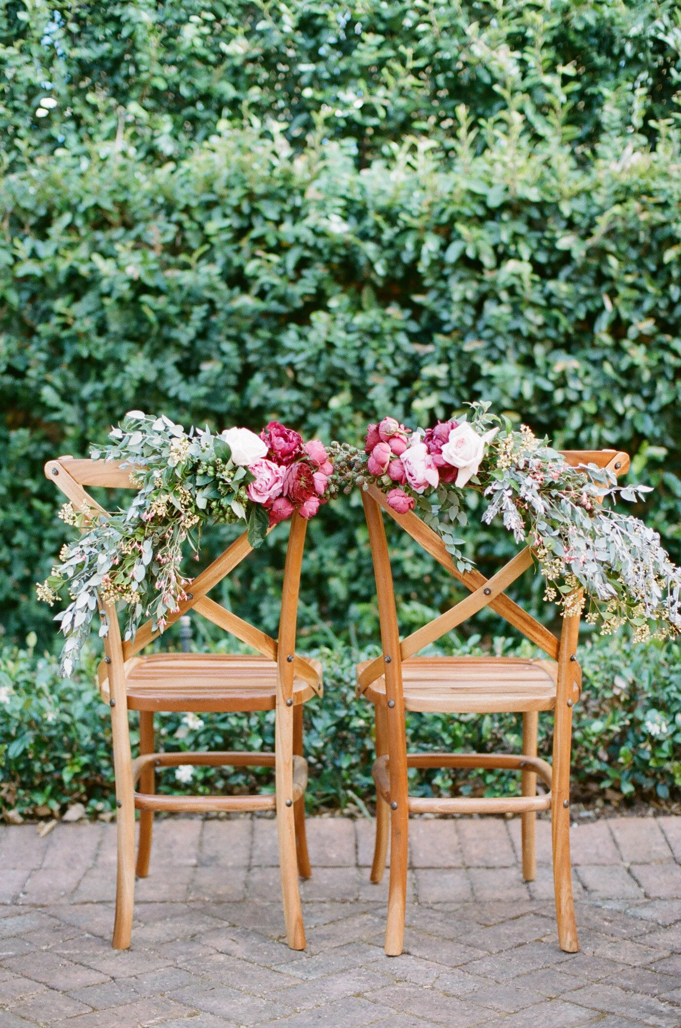 Romantic Peony Rose And Eucalyptus Chair Garlands