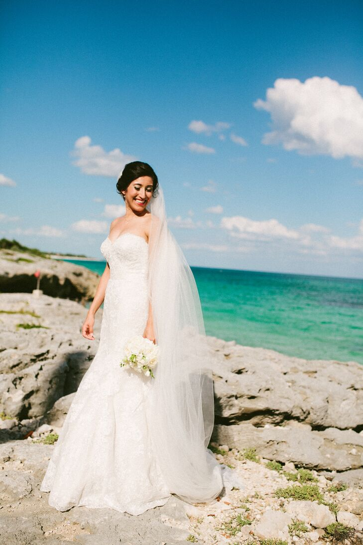 Classic Lace Wedding Dress with Cathedral Veil in Tulum, Mexico