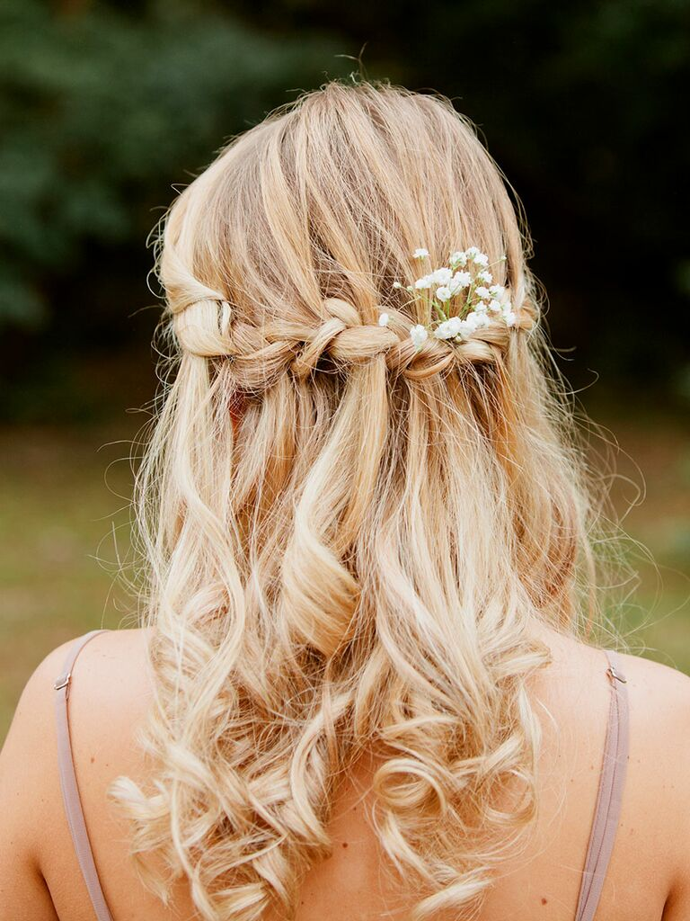 Rustic hairstyle with braids for outdoor wedding