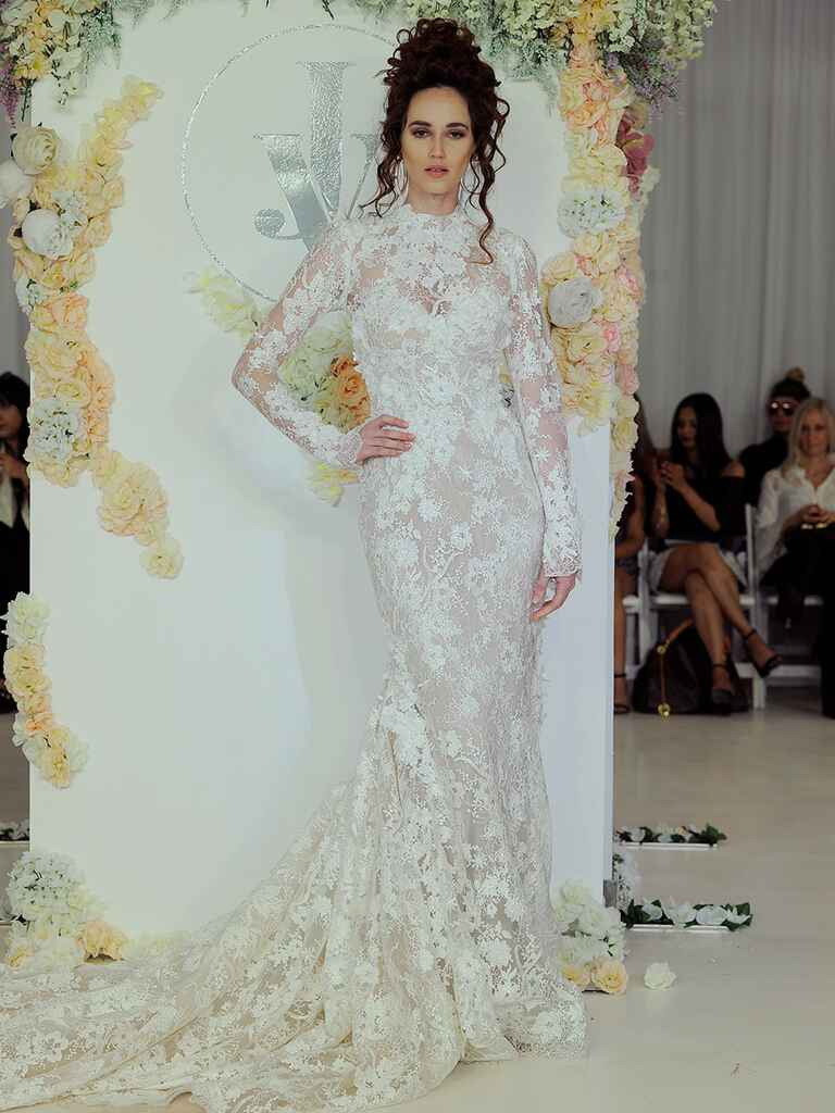 Julie Vino Fall 2018 lace long sleeve wedding dress with train