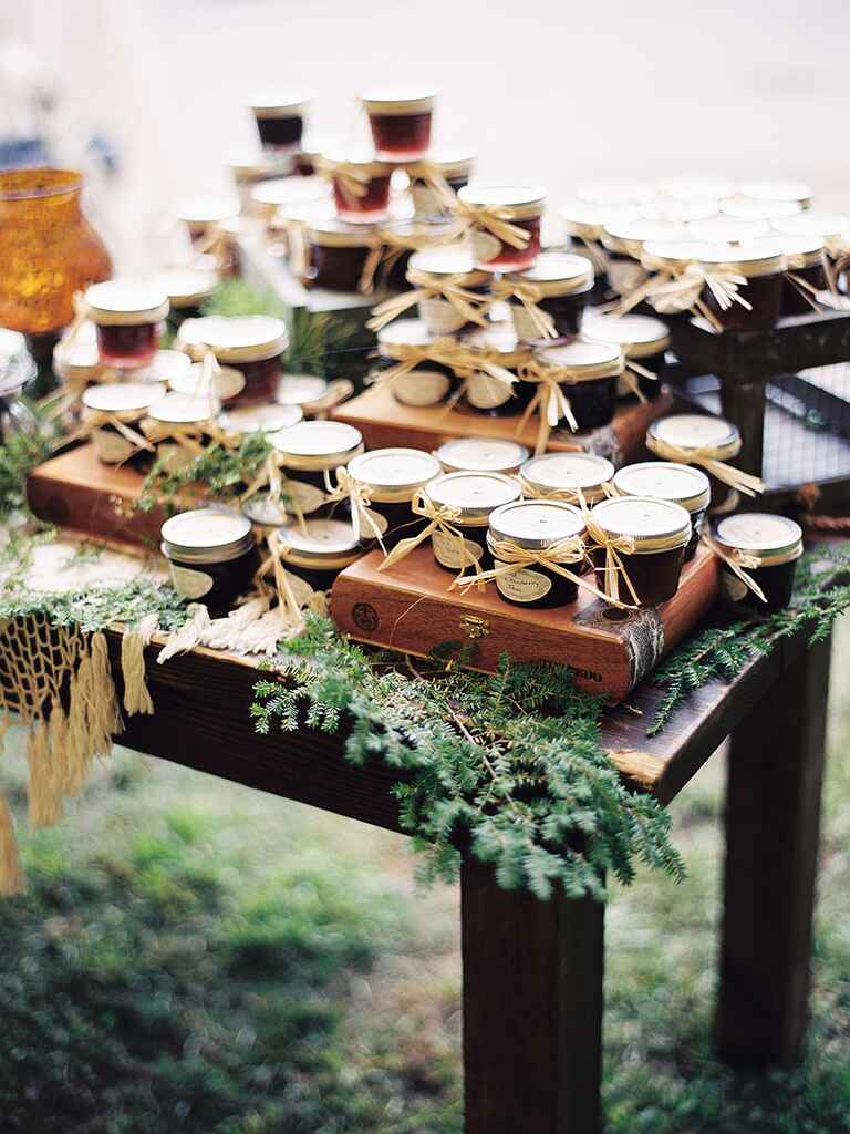 Rustic wedding favor display of jarred jam