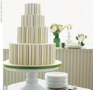 Green striped wedding cake