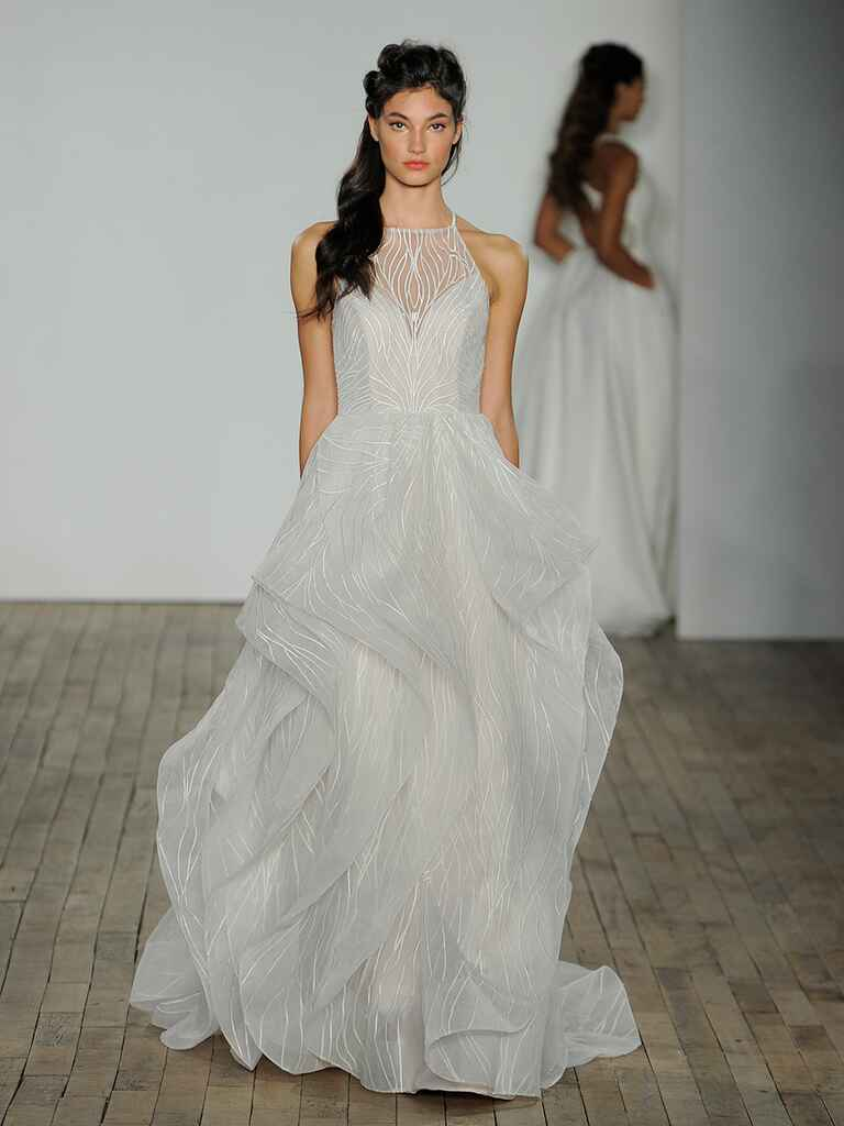 Hayley Paige Spring 2018 Mercury chardonnay ball gown with warped embroidery, cascading skirt and cashmere lining