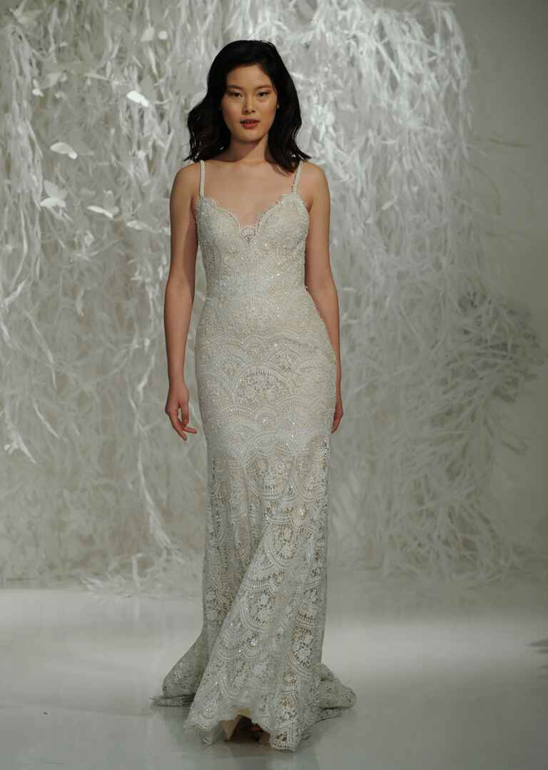 Watters Fall 2016 art deco-inspired beaded lace sheath wedding dress with V neckline