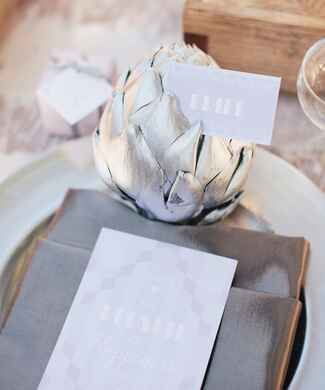 Silver painted artichoke place card