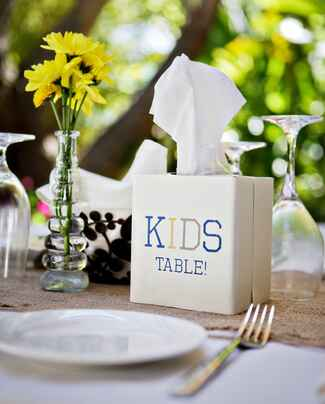 Kids table decor at wedding reception