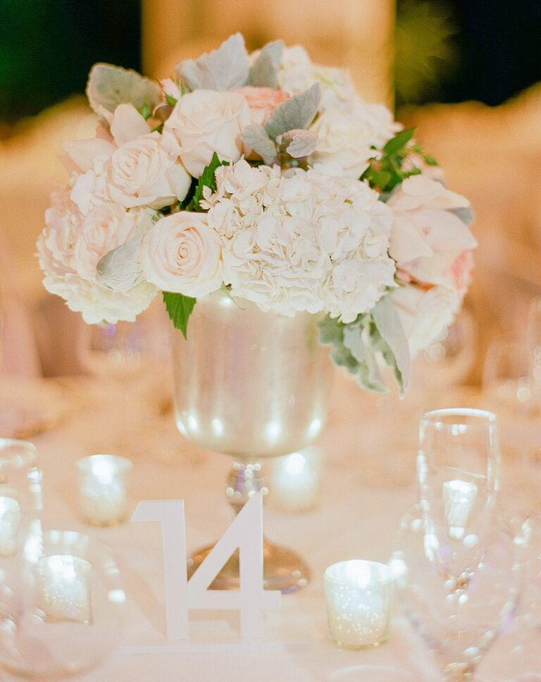 Wedding reception centerpiece styles classic wedding centerpiece with white flowers junglespirit Image collections