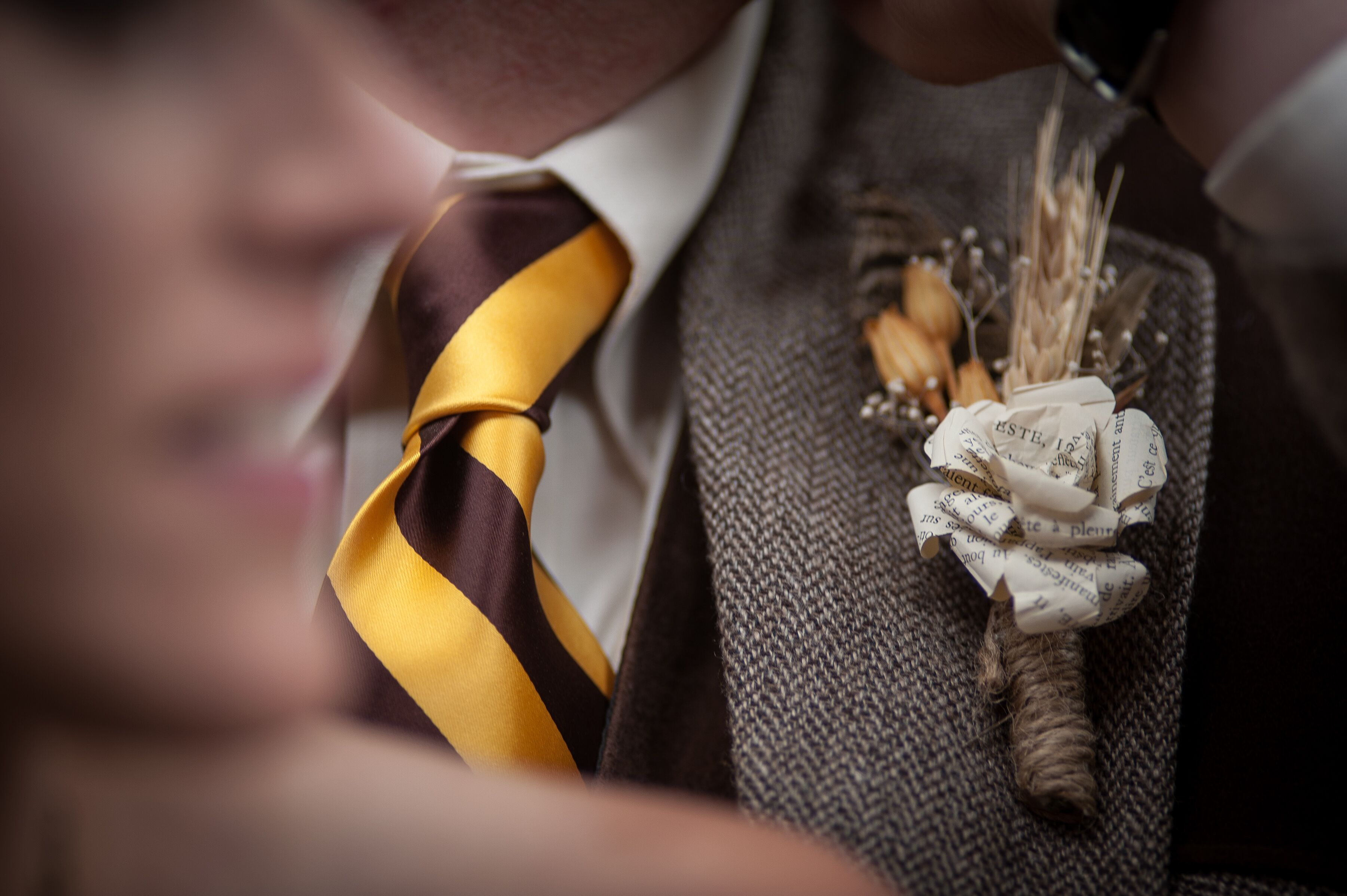 Diy Paper Flower And Wheat Boutonniere