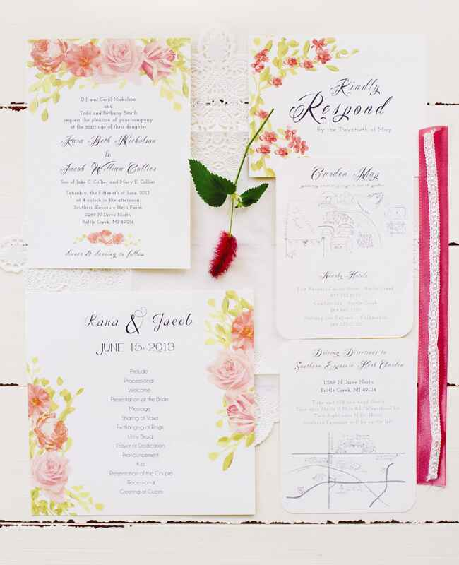 Painted Pink Roses Invitations |<img class=