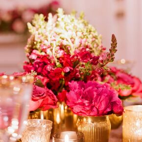Wedding centerpieces glam pink and gold centerpiece junglespirit Image collections