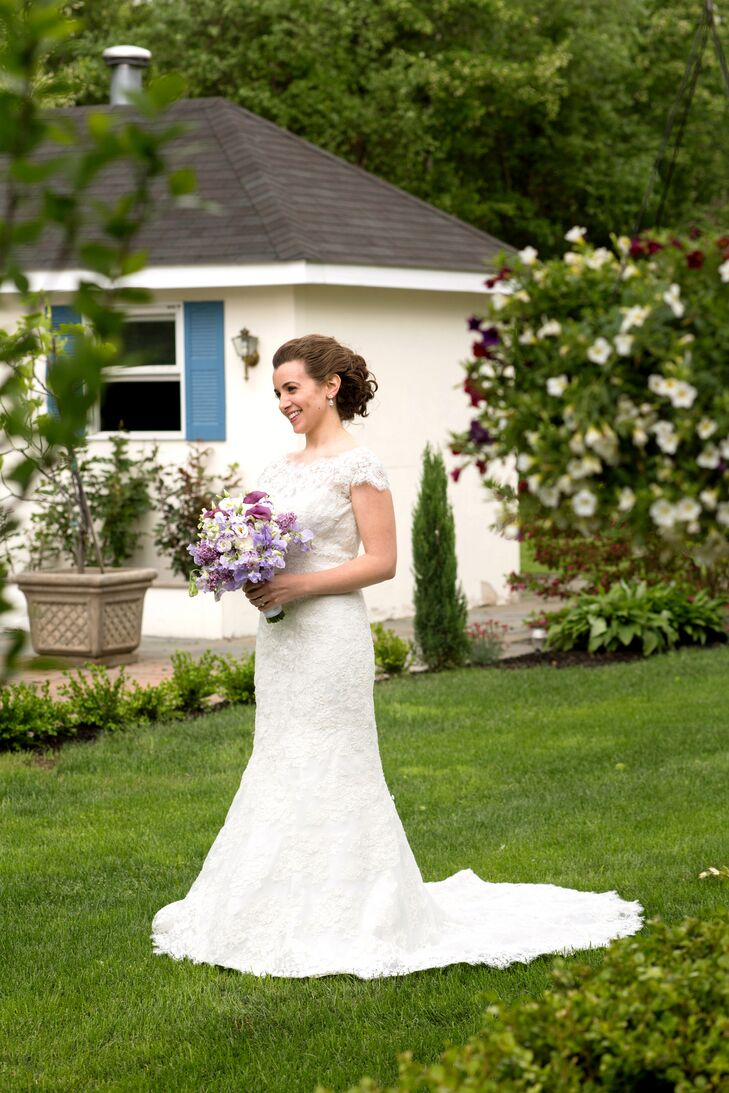 """My dress was by Allure Bridal,"" says Sara. ""Overall, the fashions on my wedding day were very simple."""