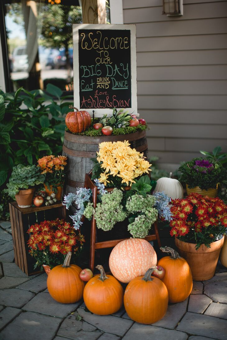Fall Themed Wedding Reception Entrance