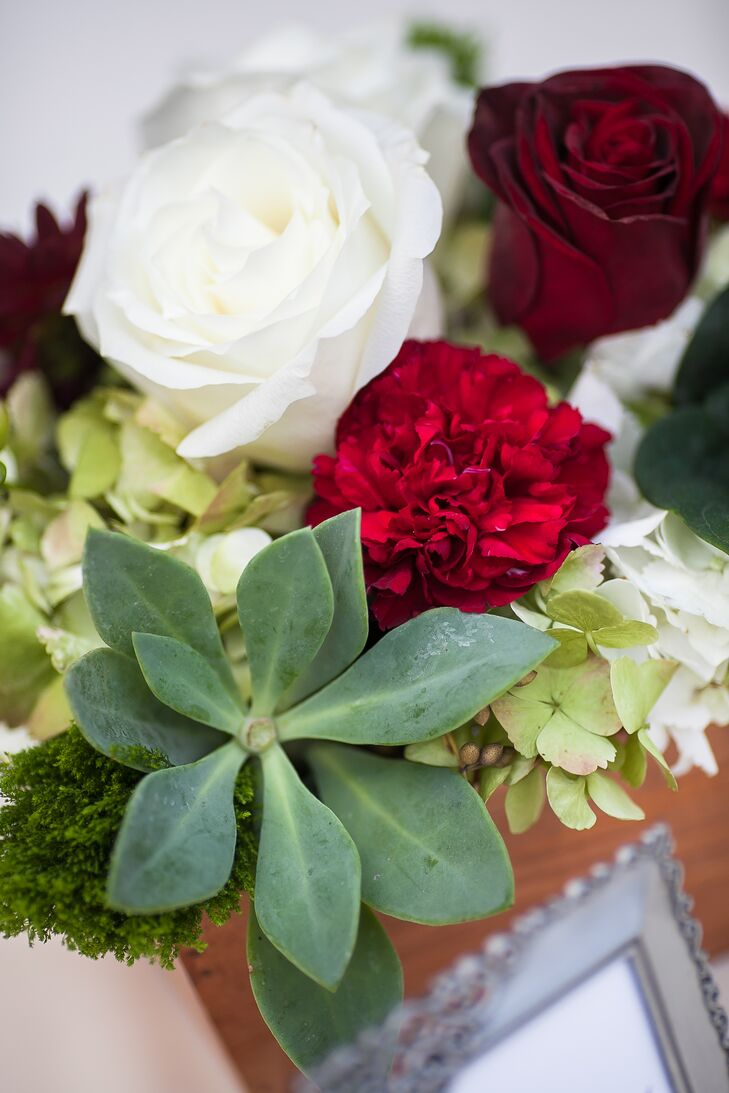 Succulent, Red Rose, and White Hydrangea Centerpiece