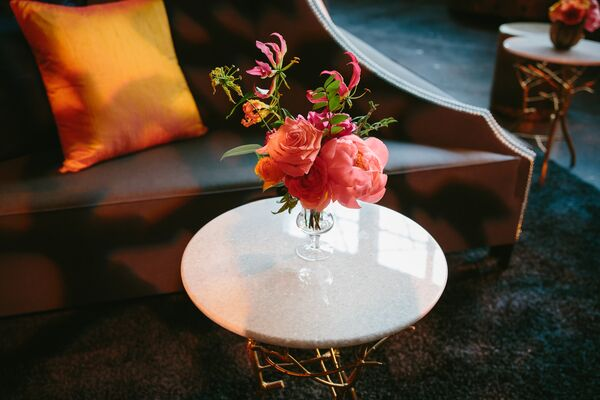 Pink Peony Centerpiece in Bud Vase