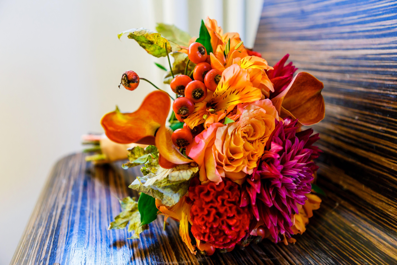 Fall Gerbera Daisy Bouquet Burnt Orange Fall Brid...