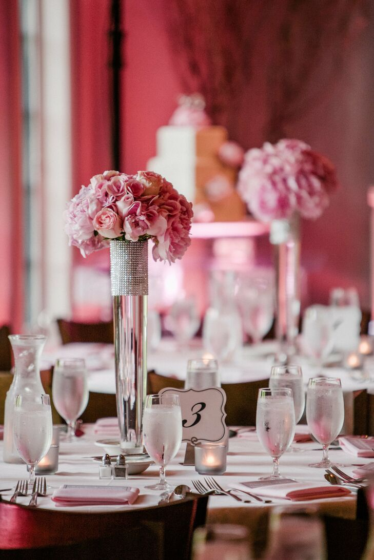 Glamorous Pink Reception Table Decor