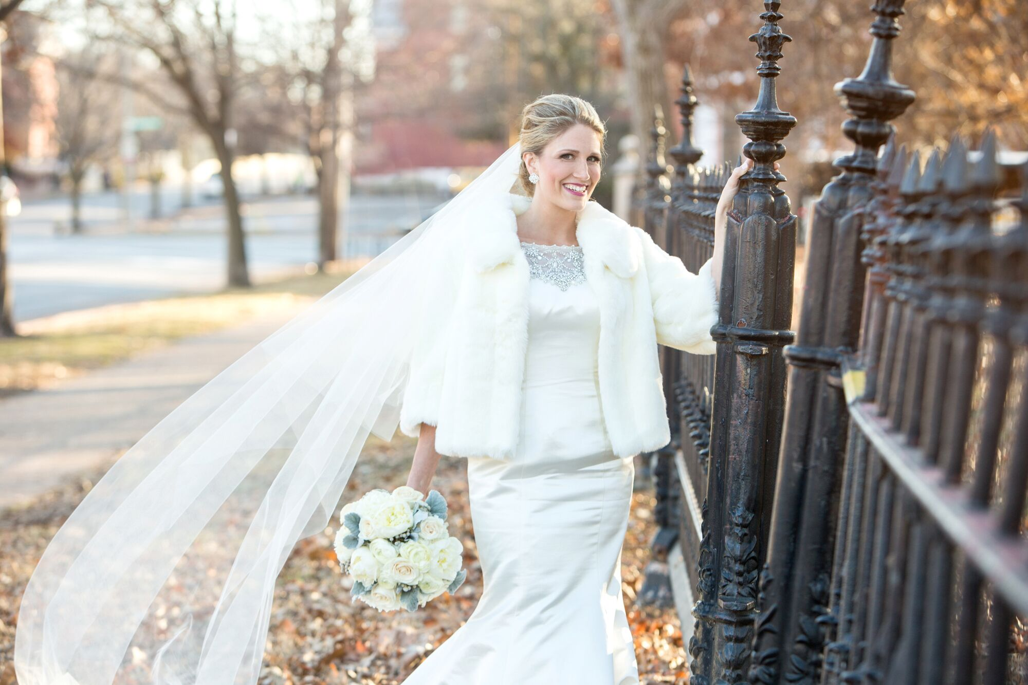 White Wedding Gowns: All White Wedding Dress And Veil With White Fur Coat